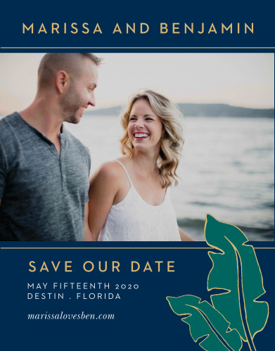 The Green Breeze Save the Date Cards will whisk your guests away to the tropics with its clean typography and cascading, illustrated palm fronds.