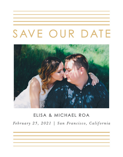 Our Rippled Quintet Save-the-Date Magnets ensure that your loved ones mark their calendars well in advance of your special day.
