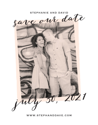 Be sure that your guests mark their calendars well in advance of your big day with our Giddy Graffiti Save-the-Date Cards. Scrolling calligraphy and a classic print fill the page with your wedding details, while a gorgeous photo of your choice decorates the background for the perfect look.