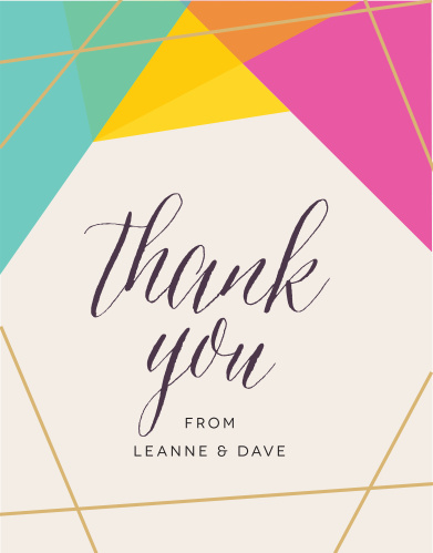 Our Brilliant Gem Thank you Cards feature brightly colored facets that are outlined by our raised gold foil.