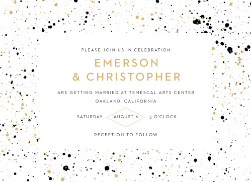 Our Modern Splatters Wedding Invitations are artfully decorated with splatters of paint that border the details of your wedding.