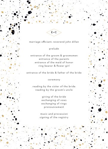 Our Modern Splatters Wedding Programs are artfully decorated with splatters of paint that border the details of your ceremony.