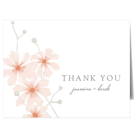 The text, written in a soft-grey print, creates a lovely contrast against the bright white background, while dainty daisies finish the design by framing the card. These cards are a picture-perfect representation of what your guests can expect at your wedding! Customize your own online today!
