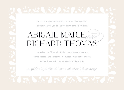 Our Frosted Leaves Wedding Invitations are as stunningly simple as they are simply stunning.