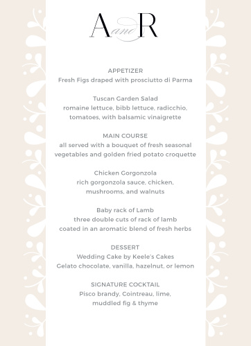 Frosted Leaves Wedding Menus describe all of your guests' meal options in mouthwatering detail. With neat botanical designs, classic black print, and just a touch of delicate calligraphy to add notes of elegance, these menus offer everything you need on your wedding day.