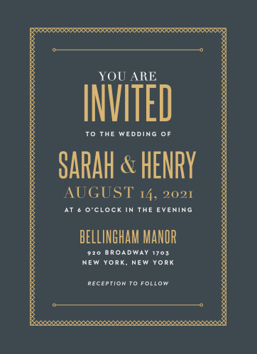 For a touch of vintage elegance, use our Marvelous Manor Wedding Invitations to provide your wedding day details to your guests. Bright and brilliant gold-foil guarantees that your invitations are as eye-catching as they are easy-to-read, creating a lovely contrast against the stormy-gray background and touches of white print.