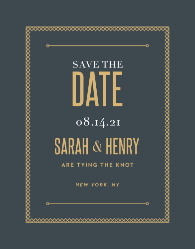 Give your guests all of the information they need well in advance with our Marvelous Manor Save-the-Date Magnets. Featuring an onyx-gray background that creates a gorgeous contrast for the shining gold-foil that spells out the details of the day, these magnets are a fantastic choice for any wedding.