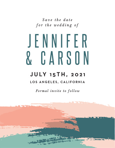 Relaxed as an afternoon at the beach, the Painterly Perfect Wedding Save-the-Date Cards are a sea-breeze ocean dream.