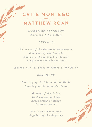 Our Rustic Branches Wedding Programs utilize the same gorgeous design and color scheme as several other cards in the Rustic Branches wedding suite.