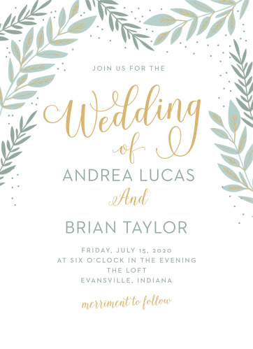Our stunning Graceful Garden Wedding Invitations are crowned with laurels, growing in and around the swirling gold calligraphy of the card's title.