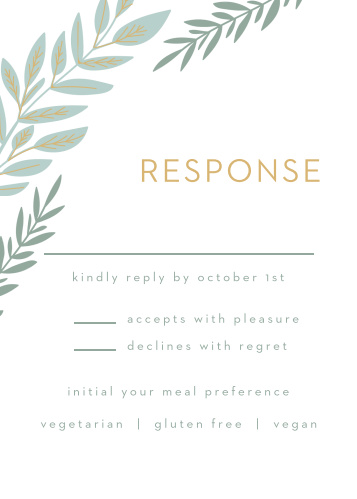 Ensure that you're prepared for each and every guest using our Graceful Garden Response Cards.