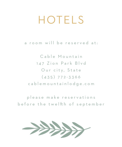A gorgeous, gold-foil title tops Graceful Garden Accommodation Cards in a clean-cut script, ensuring that your guests know exactly what this card is for.