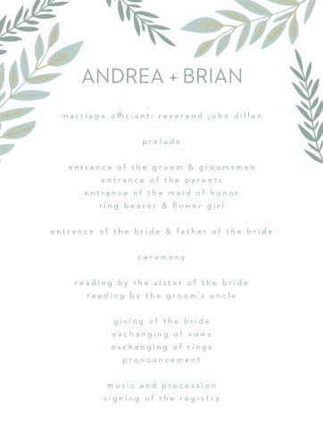 Guide your guests through each individual moment of your ceremony with our stunning Graceful Garden Wedding Programs.