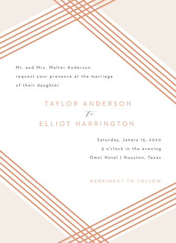 Our Contemporary Glamour Wedding Invitations overlap and intersect in elegant style, just as your guests will on your wedding day. A simple quartet of desert-red lines creates a gorgeous frame for your invitational text, written in a brilliantly clear type. With your details in an easy to read font and encircled by a simple, easy to love design, these cards are precisely what you need for the day you want.
