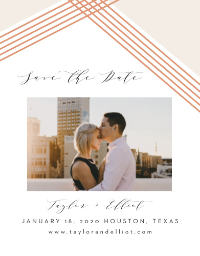 Give your guests the info they need well in advance with our stunningly simple Contemporary Glamour Save-the-Date Cards. Your details are written out in a combination of swirling calligraphy and elegant print, complemented by your choice of photo and a shining rooftop of rose-gold foil- making this card as easy to love as it is easy to read.