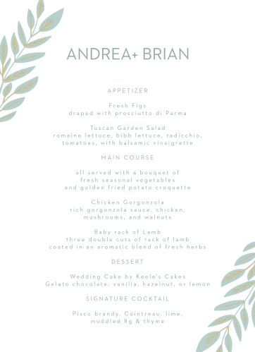 Guide your guests' attention to our stunning Graceful Garden Wedding Menus.
