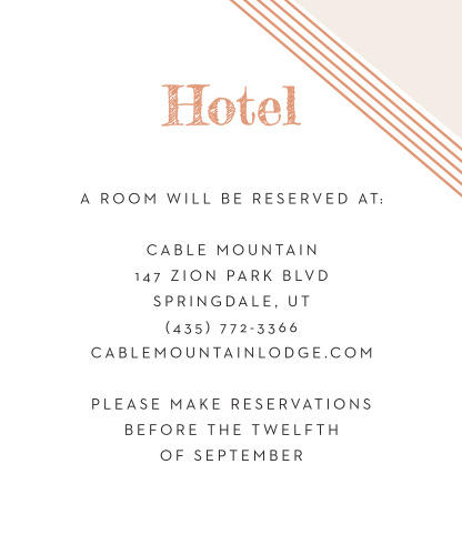 Guarantee that your guests are as comfortable as possible with our Contemporary Glamour Accommodation Cards. Rose-gold foil shines on the page in the form of your calligraphy title and a quartet of diagonal lines that form a border along the upper-right corner. With your text in a clean, easy-to-read print, your guests will surely appreciate the personal recommendations.