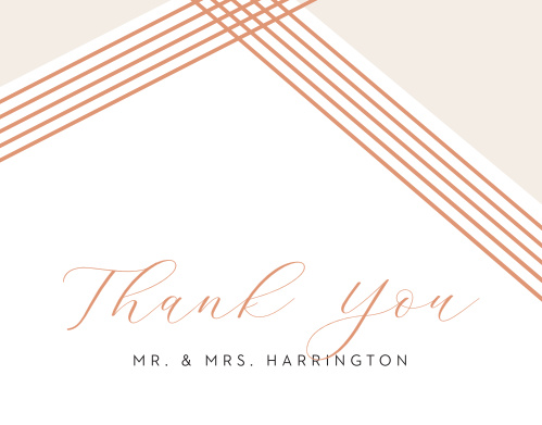Write out your sincere appreciation in the shining rose-gold foil of our Contemporary Glamour Wedding Thank You Cards. A quartet of intersecting lines come to a point above your text, adding a flash of color and style to the cards, while your names are detailed in a clean, black print- a perfect message on the perfect card after the perfect day.