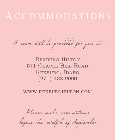 Your guests will appreciate the convenience of an accommodation card.