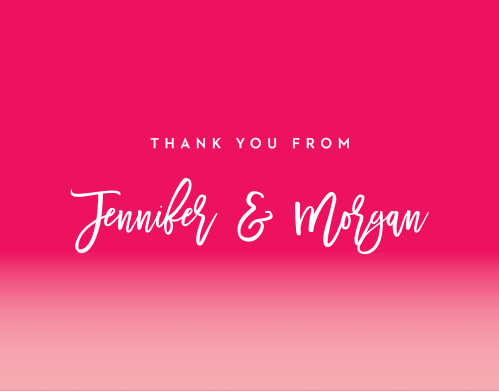 Look no further than our Bright Stars Wedding Thank You Cards! They feature a pomegranate colored background for modern flare with bright-white calligraphy topping the card and an easy-to-read text saved for the details.