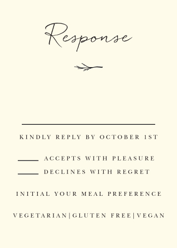 Weathered Twig Response Cards give you the opportunity to tally up all of your guests, as well as their individualized needs.