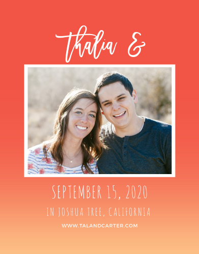For a gorgeous card rich in color, look no further than our Tequila Sunrise Save-the-Date Cards! A deep red background with a light orange gradient creates a warm inviting feel.