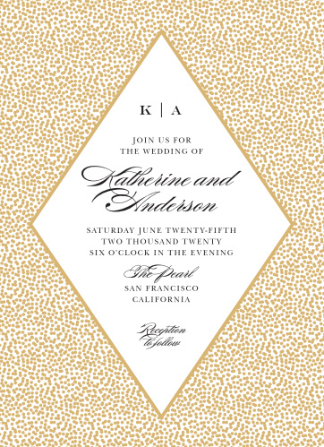 Our Pebble Beach Wedding Invitations feature a diamond that contains your wedding details, framed by a pattern of gold foiled pebbles.