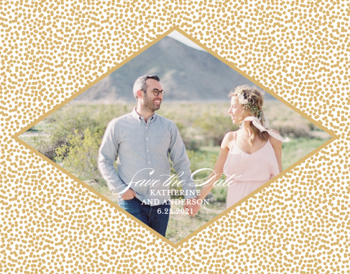 Our Pebble Beach Save-the-Date Cards feature a diamond that contains your engagement photo and wedding details, framed by a pattern of gold foiled pebbles.