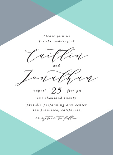 For a beautiful invitation befitting the elegance of your wedding plans, look no further than our Geometric Apex Wedding Invitations.