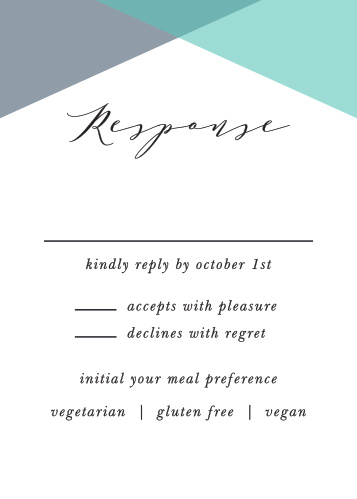 Geometric Apex Response Cards give you the opportunity to tally up all of your guests, as well as their individualized needs.