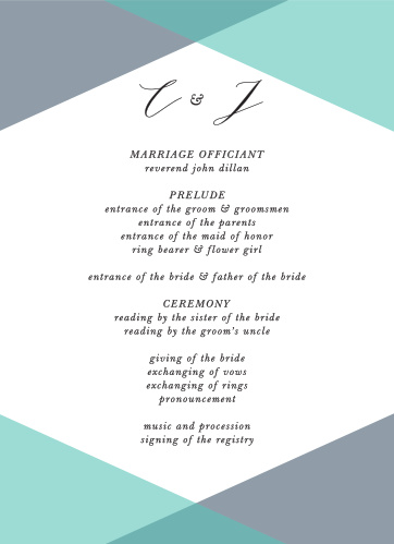 Our Geometric Apex Wedding Programs are the perfect choice for ensuring that your guests can follow along with the moments and members of your wedding ceremony.