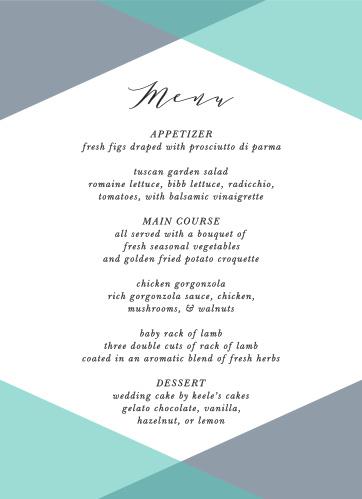Our Geometric Apex Wedding Menus utilize the same gorgeous design and color scheme as several cards in the Geometric Apex wedding suite.