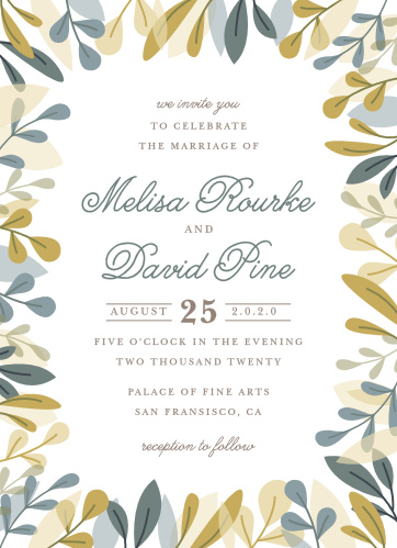 For a beautiful invitation befitting the elegance of your wedding plans, look no further than our Forest Leaves Wedding Invitations.