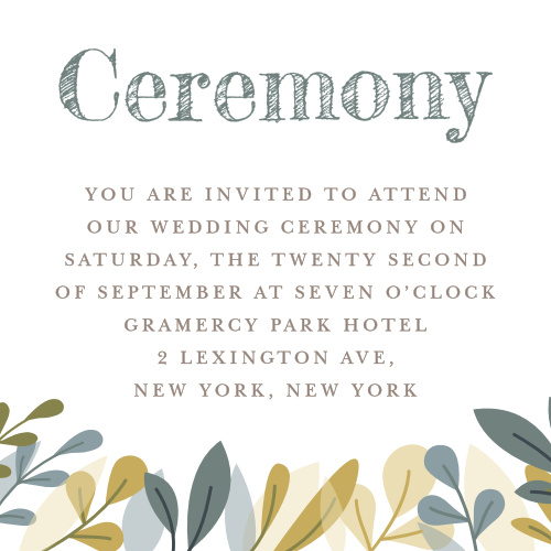 Our Forest Leaves Ceremony Cards utilize the same gorgeous design and color scheme as several other cards in the Forest Leaves wedding suite.