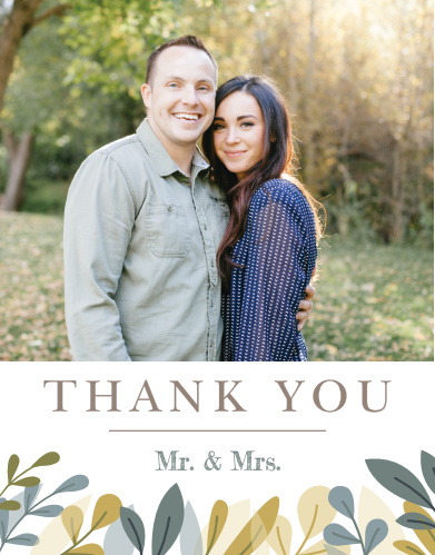 Our Forest Leaves Wedding Thank You Cards utilize the same gorgeous design and color scheme as several other cards in the Forest Leaves wedding suite.
