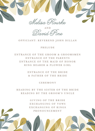 Our Forest Leaves Wedding Programs are the perfect choice for ensuring that your guests can follow along with the moments and members of your wedding ceremony.