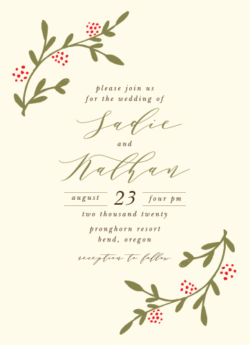 The Bountiful Berries Wedding Invitation is a perfect marriage of rustic coloration and botanical illustration.