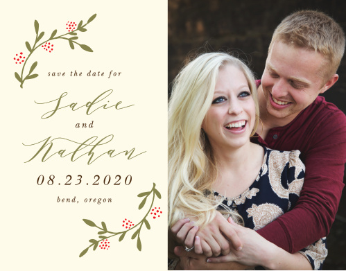Whisk your guests away to your charming outdoor bash with the Bountiful Berries Save the Date Cards.