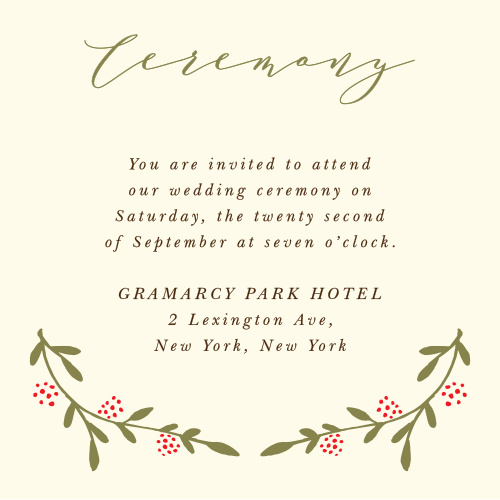 The Bountiful Berries Ceremony Card features wispy branches adorned with illustrated berries and a flowing script, which together make for a graceful outdoor themed card.