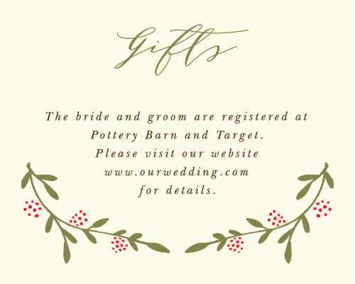 The Bountiful Berries Registry Card features wispy branches adorned with illustrated berries and a flowing script, which together make for a graceful outdoor themed card.