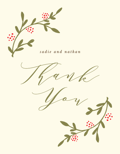 Send your guests your most sincere gratitude with the rustic, botanical style of the Bountiful Berries Thank You Cards.
