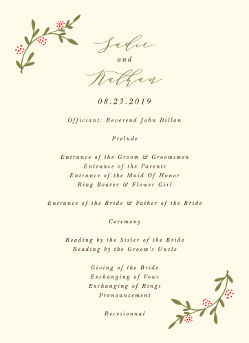 Walk your guests through each unique moment of your wedding day with our Bountiful Berries Wedding Programs.