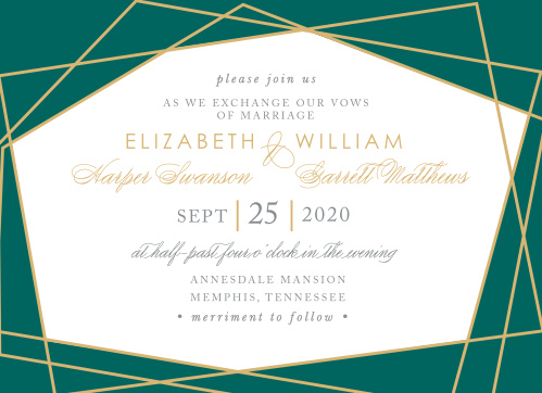 Our Emerald Facets Wedding Invitations feature a series of edgy green gem faces that are outlined by raised gold foil.