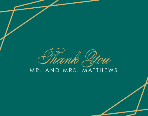 Our Emerald Facets Thank you Cards are classically beautiful.