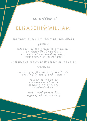 Our Emerald Facets Wedding Programs feature a series of edgy green gem faces that are outlined by raised gold foil.