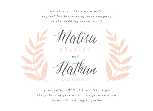 Our Wedding Wreath Wedding Invitations feature a bright white background with lovely french grey and ballet pink typography in the center.