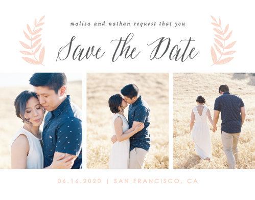 Our Wedding Wreath Wedding Save-the-Date Cards feature a bright white background with lovely french grey and ballet pink typography in the center.