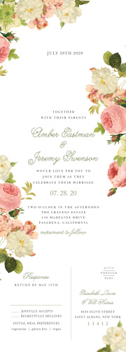 Alluring Florals Seal & Send Wedding Invitations provide a fantastically floral background that encapsulates your blooming love.