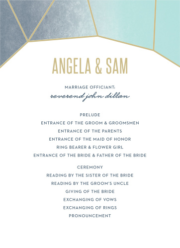 Gleaming Gemstone Wedding Programs are the perfect choice for ensuring that your guests can follow along with the moments and members of your wedding ceremony.