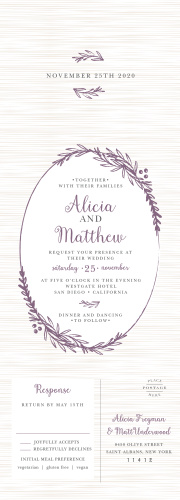 Gentle laurels decorate the cover of our Delicate Laurel Seal & Send Wedding Invitations, framing the text of your invitation with gorgeous purple foliage.